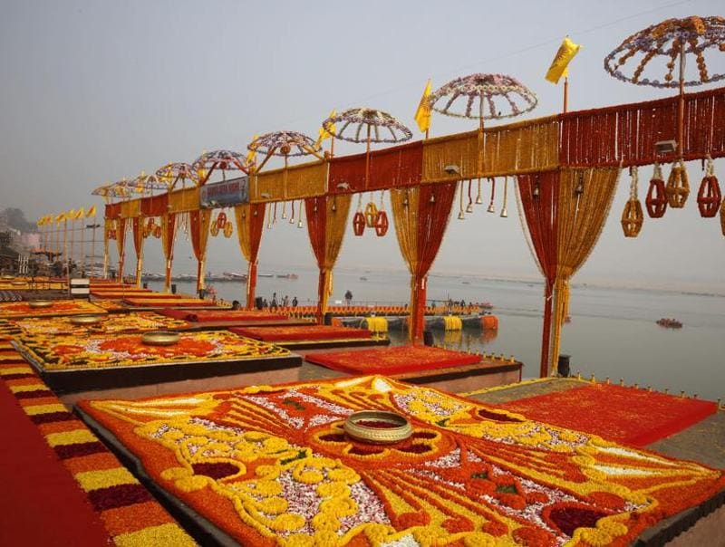 A Ghat on the bank of river Ganga is fully decorated with flowers as PM Narendra Modi with his Japanese counterpart Shinzo Abe will witness Ganga aarti in the evening. The Ganga aarti is a religious prayer ceremony for the river Ganges in Varanasi. (AP)