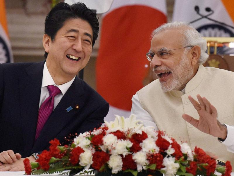 While many major business and developmental projects were signed between India and Japan during the meeting, some light moments were also shared by the Prime Ministers of the two countries.  (PTI)