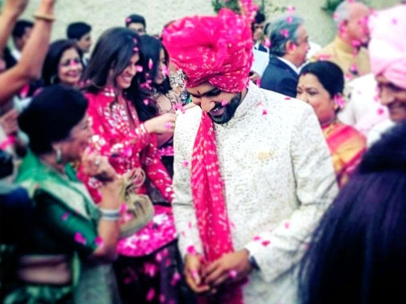 The handsome 'Dulha' was showered with flowers and blessings as he made his way to the wedding ceremony.  (Facebook)