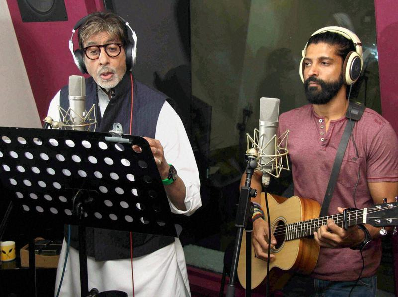 Bollywood actor Amitabh Bachchan, Farhan Akhtar recording a song for upcoming film Wazir. (PTI)