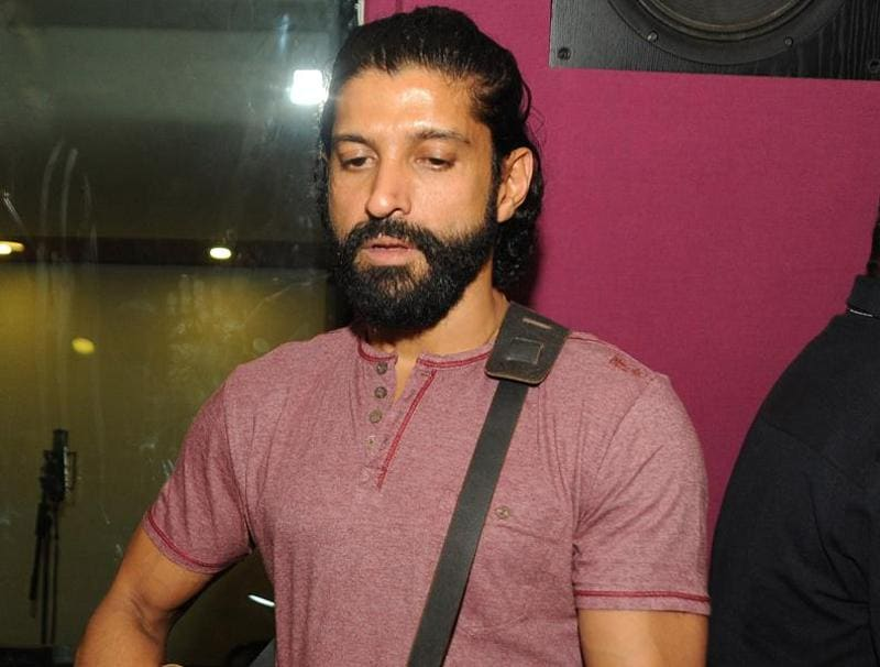 Farhan Akhtar performs during a song recording session for the upcoming Hindi film Wazir directed by Vidu Vinod Chopra in Mumbai. (AFP)