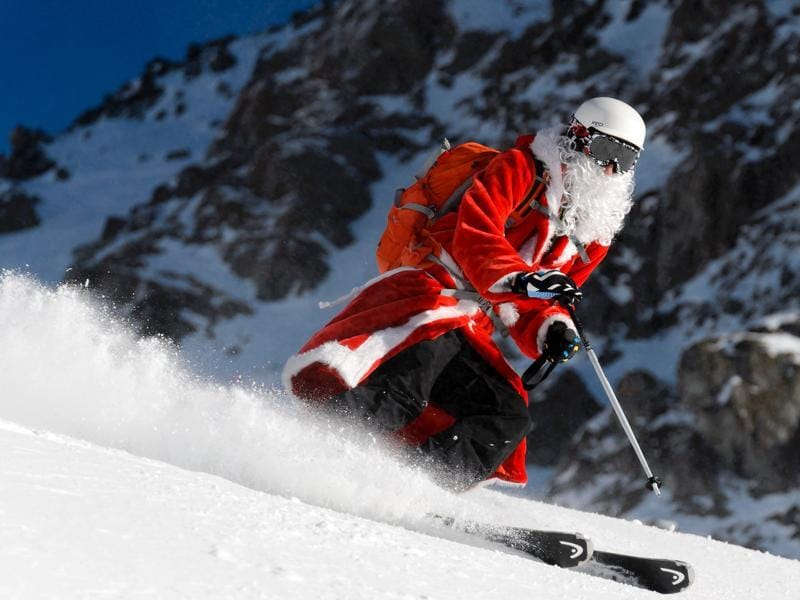 A person disguised as Santa Claus skis on December 6, 2015 in Verbier, Swiss Alps.  (AFP)