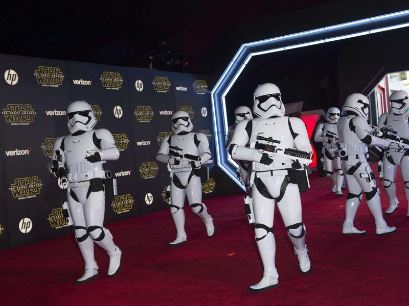 The Storm Troopers attend the World Premiere of Star Wars: The Force Awakens, in Hollywood, California. (AFP)