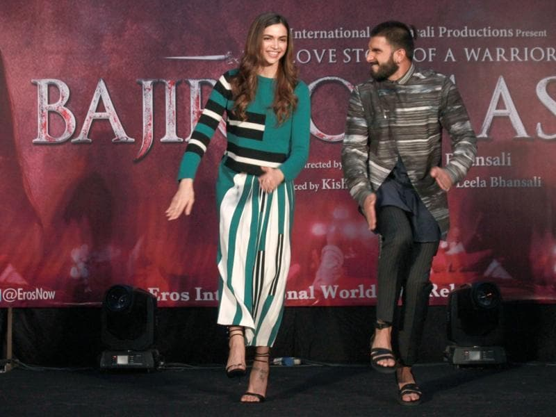 He's still just looking at her! Ranveer Singh and Deepika Padukone during promotions of  Bajirao Mastani. (IANS)