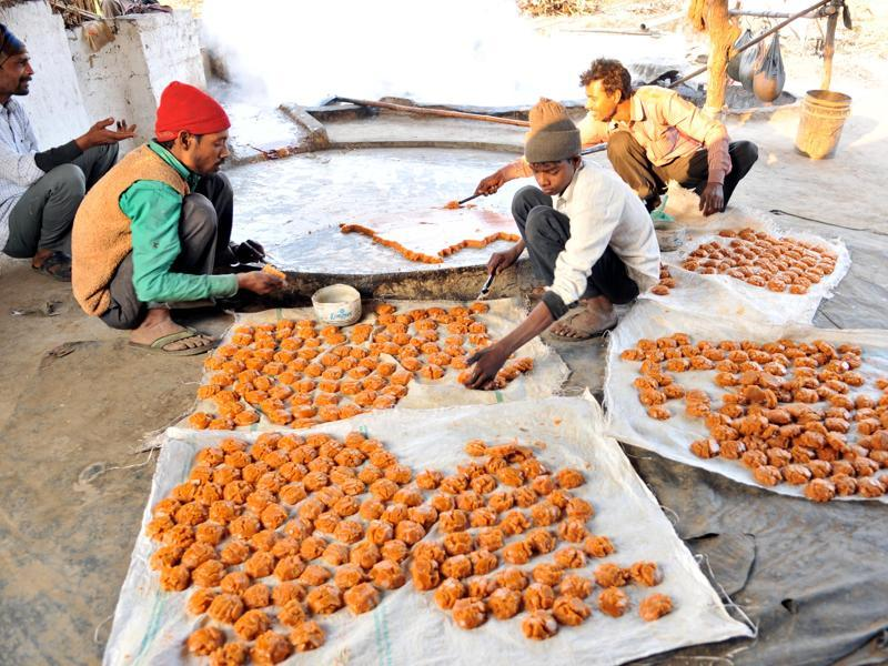 After jaggery cools down, it is given the desired shape.  (Pardeep Pandit/HT Photo)