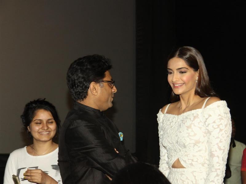 Ram Madhvan and Sonam Kapoor during the trailer launch of film Neerja in Mumbai on Dec 17, 2015. (IANS)