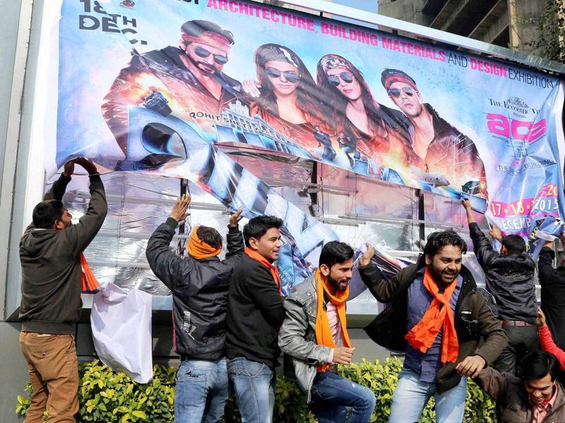 Hindu Sena activists protest against actor Shaha Rukh Khan's Dilwale in New Delhi on Friday.  (PTI)