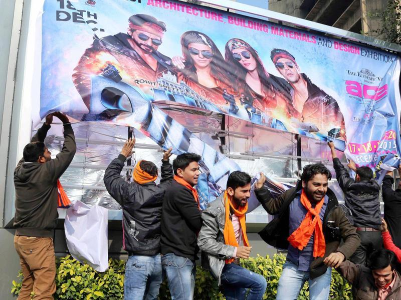 Hindu Sena activists protest against actor Shah Rukh Khan's Dilwale in New Delhi on Friday. (PTI)