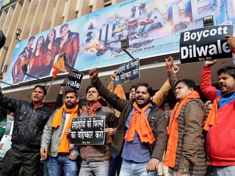 Hindu Sena activists protest against actor Shah Rukh Khan' s Dilwale in New Delhi on Friday.  (PTI)