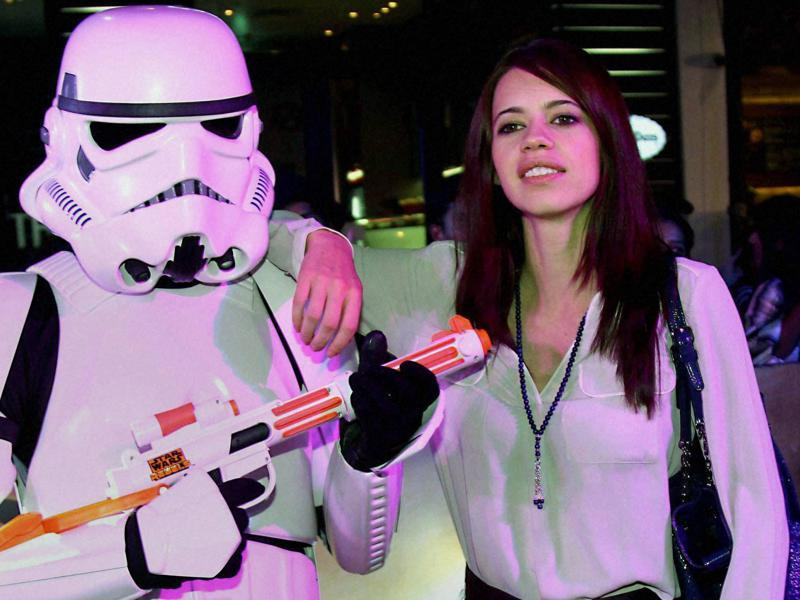 Actress Kalki Koechlin seems to be friends with the Stormtroopers as Star Wars - The Force Awakens premieres in Mumbai. (PTI)