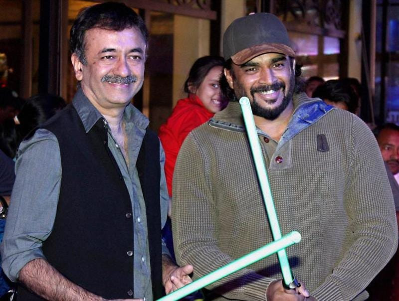 Jedis in the making? Filmmaker Rajkumar Hirani with actor R Madhavan during the premiere of Disney's Star Wars. (PTI)
