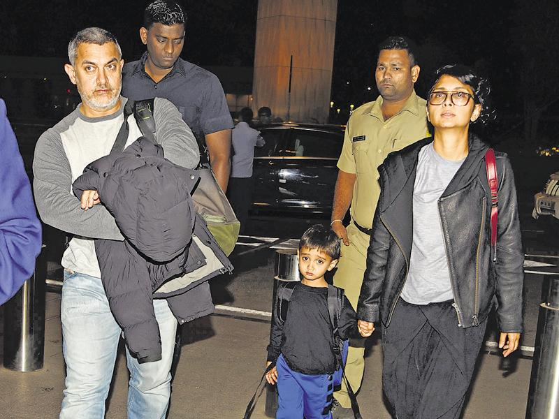 Aamir Khan leaves for Switzerland along with wife Kiran Rao and son Azad Rao. (photo: Manav Manglani/HT)