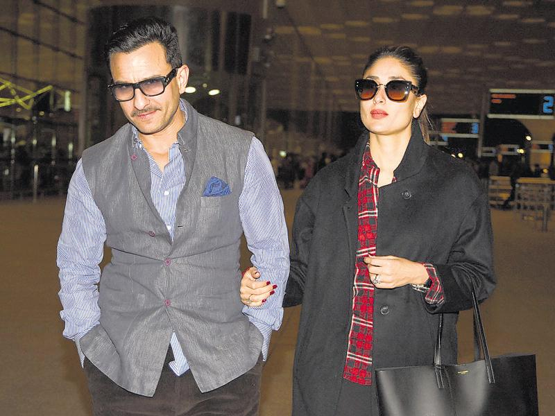 Saif Ali Khan and Kareena Kapoor spotted at Mumbai airport as they leave for their holidays in the Swiss Alps. (photo: Manav Manglani/HT)