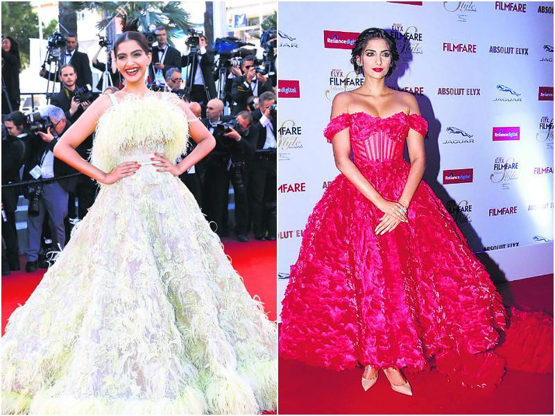 The ultra-stylish Sonam Kapoor's love for all things fashionable is common knowledge. While her nifty red-carpet looks always make headlines, her affinity with voluminous gowns was quite apparent this year.