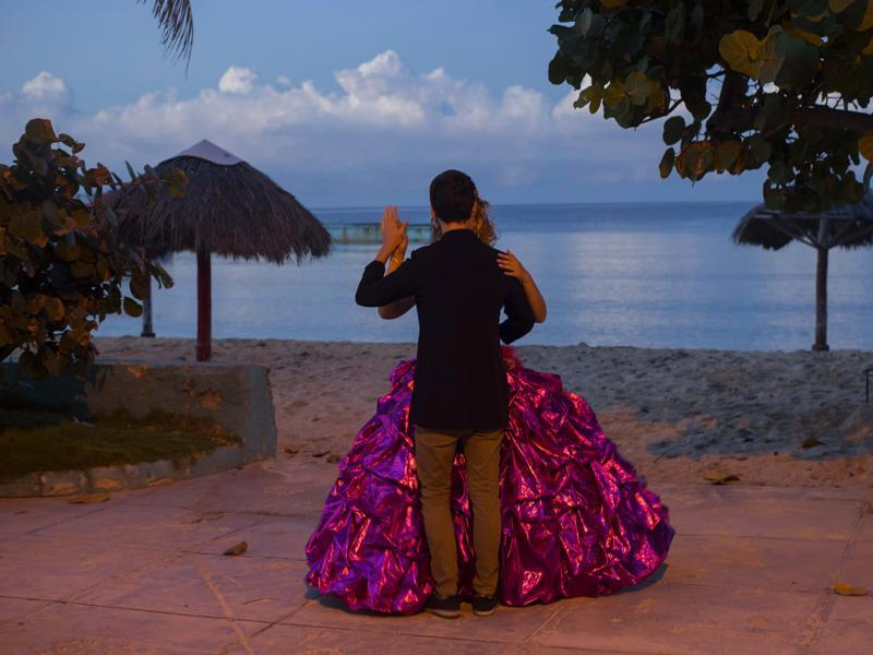 Amanda Teresa Betancur, 15, who lives in Cuba, practices her opening dance with her boyfriend Erick before her quinceanera party in Havana, Cuba on December 13, 2015.  (AP)