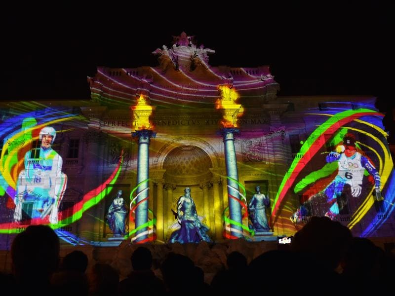 Images are projected on the 18th-century Baroque-style Trevi fountain to promote Rome's candidacy for the 2024 Olympic Games, on December 18 in Rome. The cities in the bid to host the 2024 Olympics are Budapest, Hamburg, Los Angeles, Paris and Rome.  (AFP)