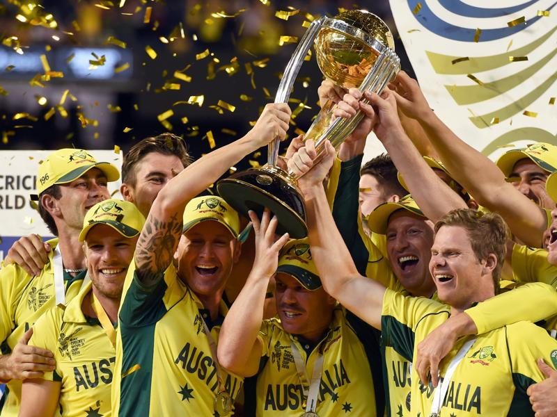 Five-time World Champions: Australian cricketers celebrating with the trophy after winning the 2015 World Cup final against New Zealand. (AFP Photo)
