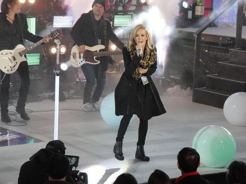 Carrie Underwood performs during New Year's Eve celebrations at Times Square in New York. (AP Photo)