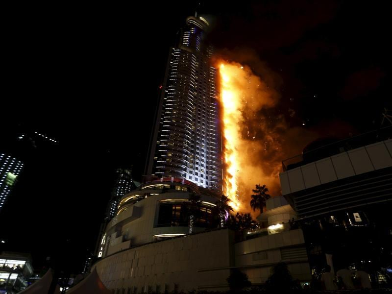 A huge fire ripped through a luxury Dubai hotel on Thursday night, injuring 16 people, just a few hours before the emirate celebrated the new year. (REUTERS)