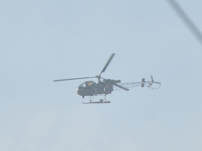 Choppers were pressed into action after terrorists attacked the air force base. (Sameer SEhgal/HT)
