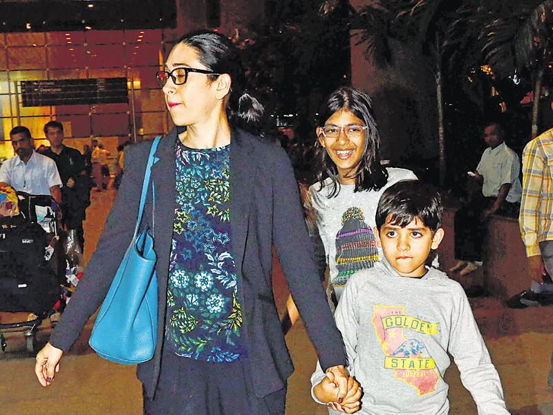 Karisma Kapoor arrives along with daughter Samaira and son Kiaan. Her mom Babita was also spotted. (photos: yogen shah)