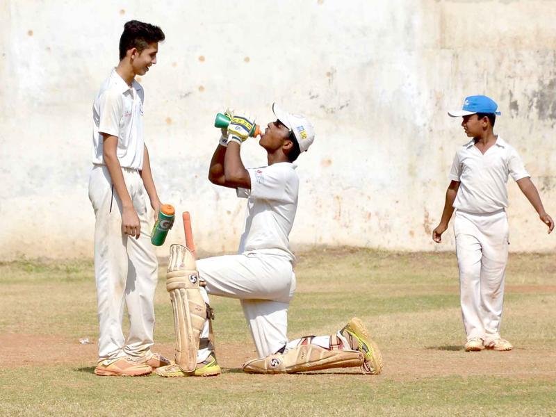 Pranav Dhanawade during his historic innings of 1009 not out. (HT Photo)