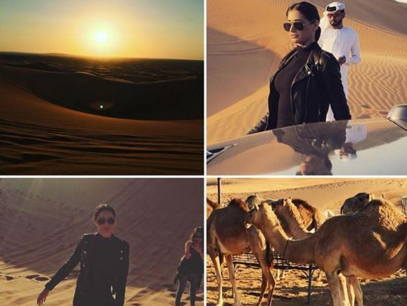 Dune diva: Turtle neck sweater — check! Leather jacket — check! Aviators — check! We believe Nargis couldn't have got it better for her desert safari in Dubai. She pulled out all the stops in this dune adventure look and nailed it too.  (Instagram)