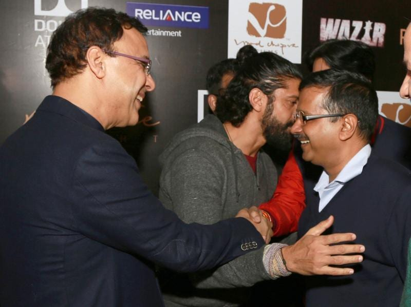 Delhi chief minister Arvind Kejriwal and deputy chief minister Manish Sisodia meet  Farhan Akhtar and filmmaker Vidhu Vinod Chopra at the press conference of Wazir in New Delhi (IANS)