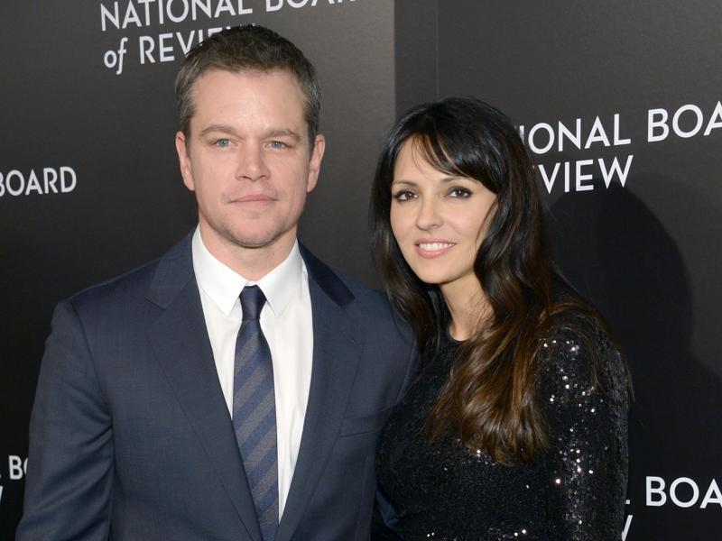 Matt Damon and his wife Luciana Barroso pose for the photographers at the National Board of Review Awards gala in New York. (AP)