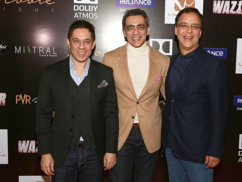(L to R) PVR Pictures Joint Managing Director Sanjeev Kumar Bijli, Chairman Ajay Bijli and filmmaker Vidhu Vinod Chopra during a press conference to promote Wazir in New Delhi, on Jan 5, 2016.  (IANS)
