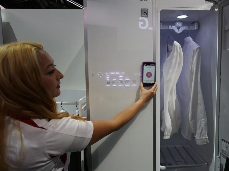 Washing clothes is so 2015, LG wants you to use your phone to communicate with a Styler stream clothing care machine, which shakes, sanitizes and steams clothing. (AFP)