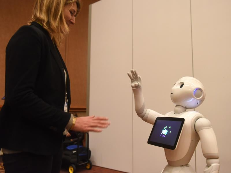 Pepper, a humanoid robot by Aldebaran Robotics and SoftBank Mobile is a social robot created to converse, recognize and react to emotions.  (AFP)