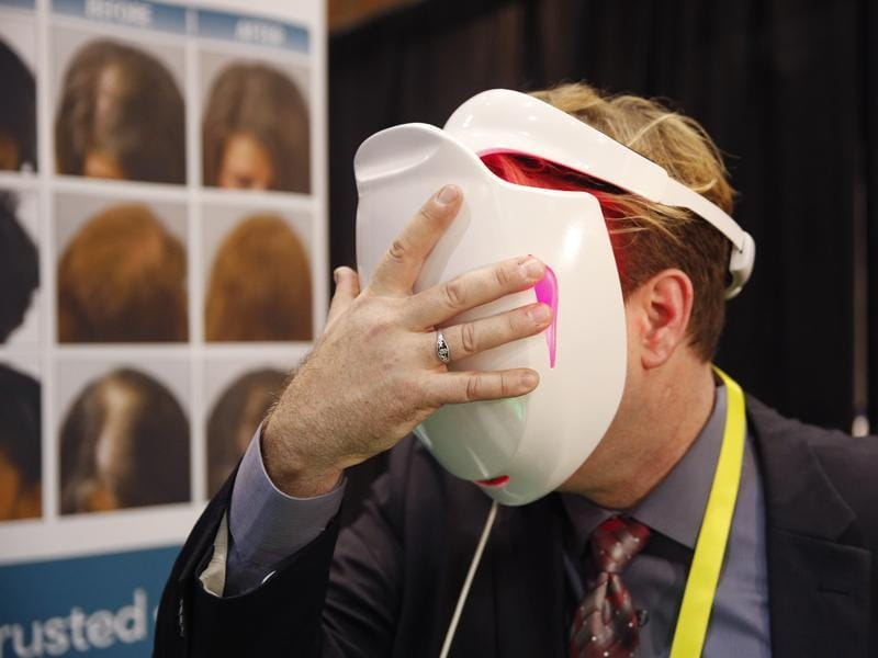 Apira Science iDerma light therapy device uses low-level light to treat skin conditions. (AP)