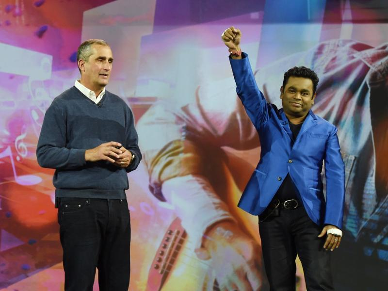 Music composer A.R. Rahman made music with just his hands and no instruments. Well, not exactly, he was wearing  the Intel Curie smartband that translated gestures to music. (AFP)