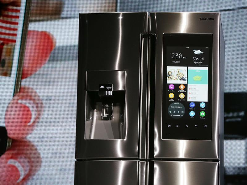The Samsung Family Hub refrigerator features a 21.5 inch full HD LCD screen, with internal cameras to check what is left inside, and online grocery shopping through major credit cards. (AFP)