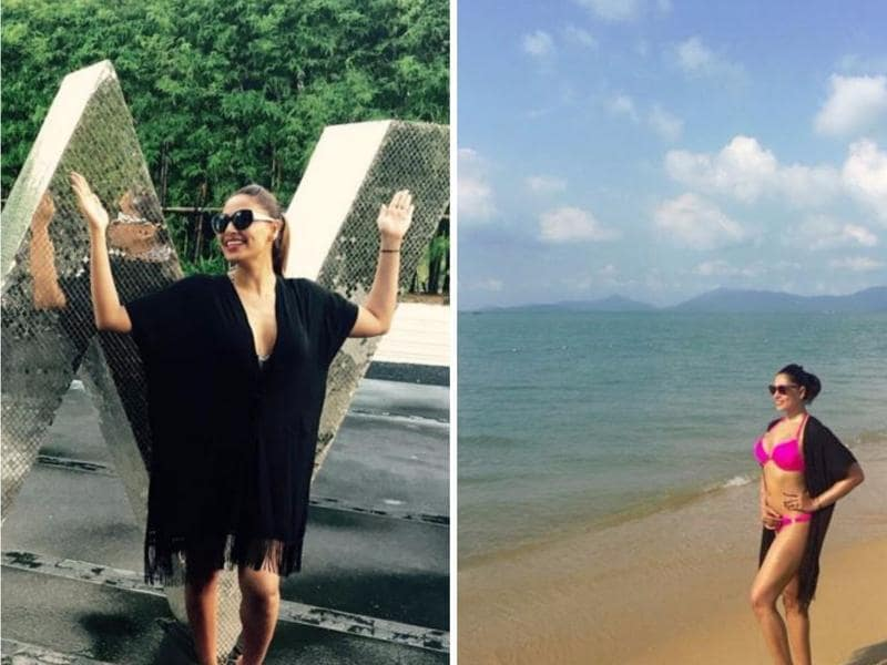 Breezy and bright: Bipasha Basu has been posting her envy-inducing bikini-clad snaps from her Maldives vacation. A vibrant kaftan works ­wonders for those coy damsels on the beach. (Instagram)