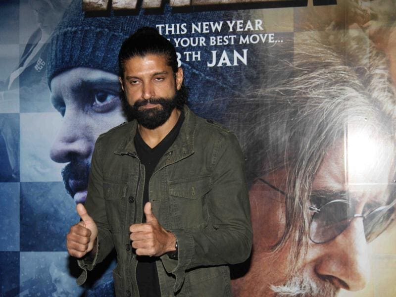 Farhan Akhtar at the special screening of his film, Wazir in Mumbai. (IANS)