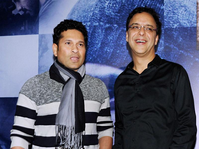 Sachin Tendulkar with Bollywood filmmaker Vidhu Vinod Chopra during the screening of Wazir in Mumbai.  (PTI)