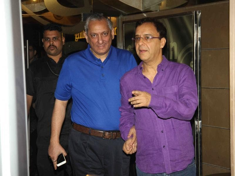 Vidhu Vinod Chopra and former Commissioner of Police Rakesh Maria during the special screening of Wazir in Mumbai. (IANS)