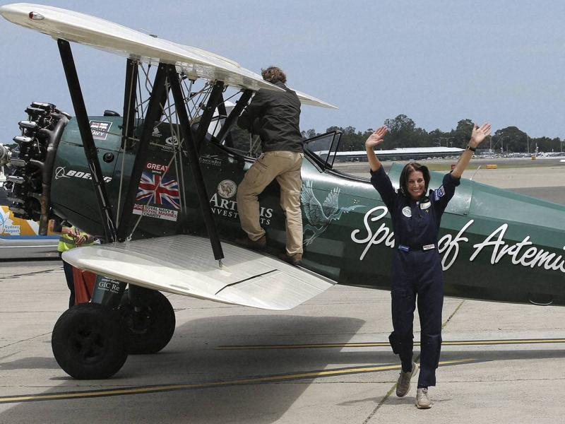 The 53 year-old aviator set out fro m Britain in October 2015 to recreate Amy Johnson's 1930 flight from Britain to Australia, about 21,000-km solo flight in a vintage open cockpit biplane fling across 23 countries. (AP)