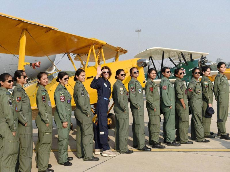 She posed with women Indian Air Force officers when she landed in Hindan last year.  (PTI)