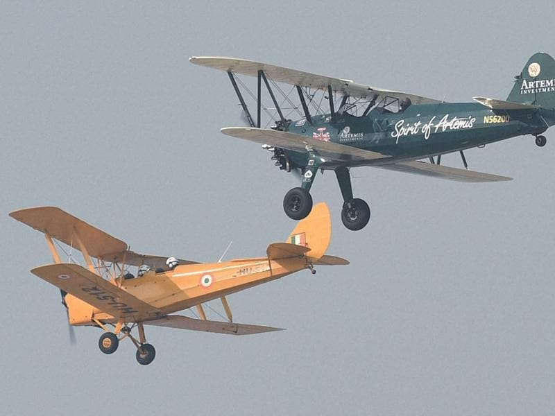 Curtis-Taylor landed her iconic biplane in Hindan Air Force station, near Delhi, in September last year.  (PTI)