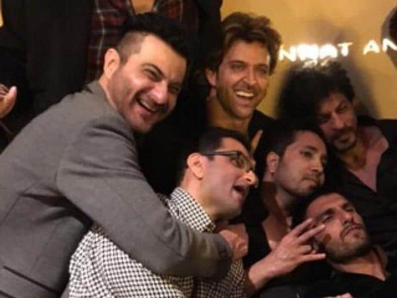 There were glam, glitterati and clicks; but most amazing one was the frame that captured three different superstars of our time, Shah Rukh Khan, Ranveer Singh and Hrithik Roshan in high spirits celebrating the occasion. (Twitter)