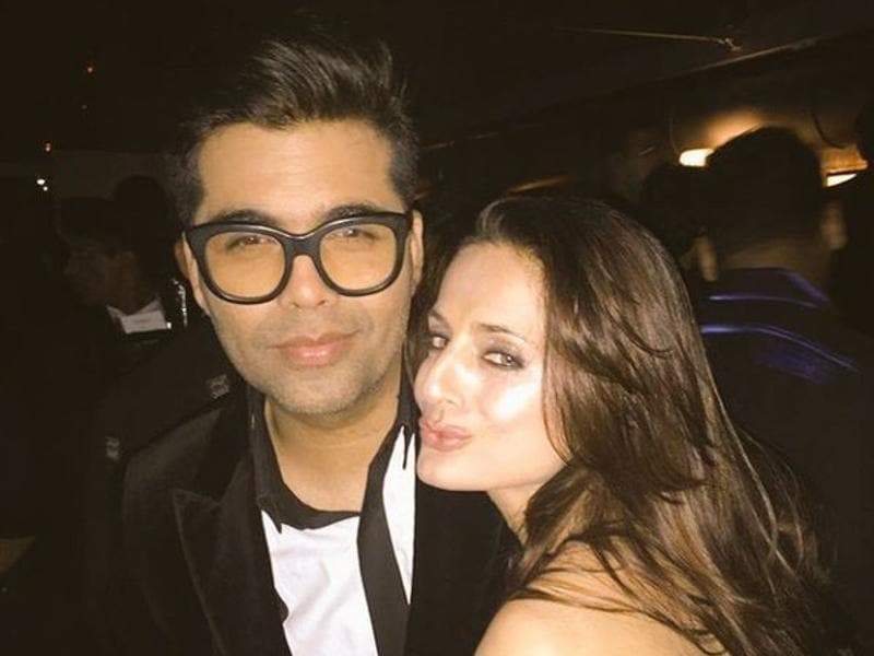 Director Karan Johar too turned up for the party with his hair game on point. And that pout, we like Ameesha. (Twitter)
