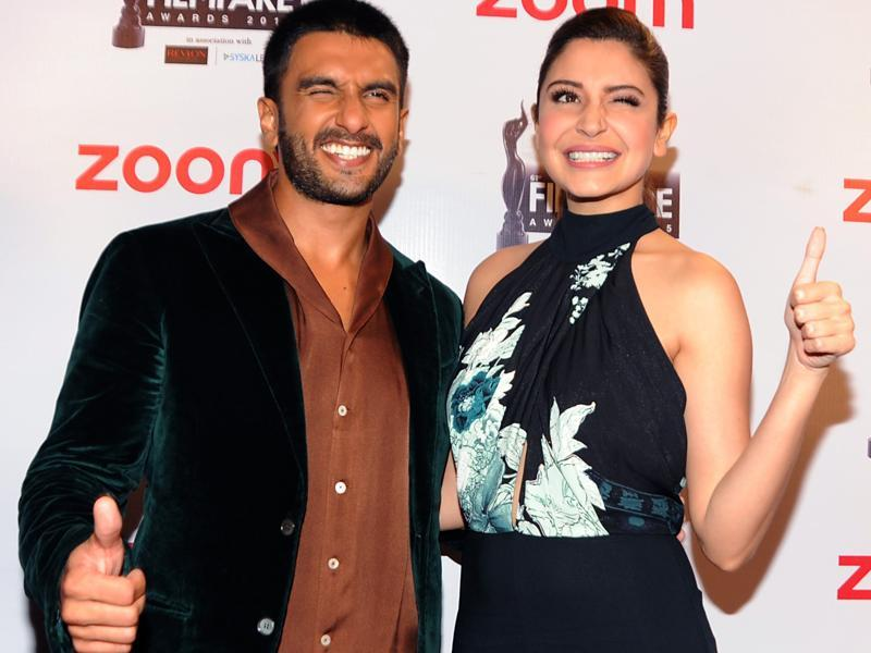 Ranveer Singh and Anushka Sharma pose for a photograph during the Filmfare Awards 2016 party in Mumbai on January 9. (AFP)