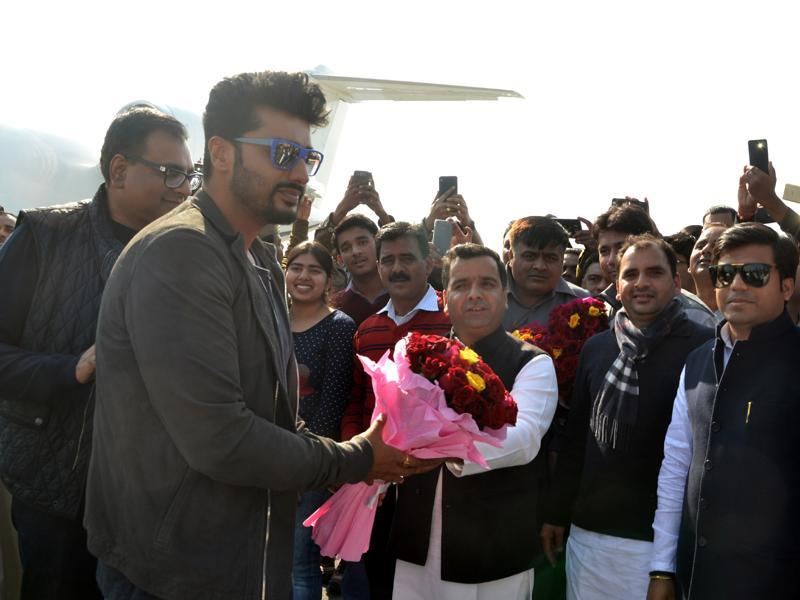 Arjun Kapoor, who arrived at Saifai, will be performing at the festival. (HT PHOTO)