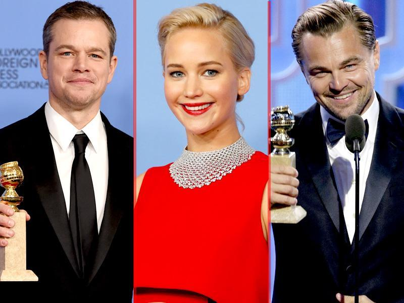 Leonardo DiCaprio won the award for Best Actor, Motion Picture, Drama, for The Revenant while  Jennifer Lawrence won best performance by an actress in a motion picture - musical or comedy for Joy. Matt Damon won the award for best performance by an actor in a motion picture - musical or comedy for The Martian at 73rd Golden Globe Awards in Beverly Hills, California January 10, 2016.  (AFP)