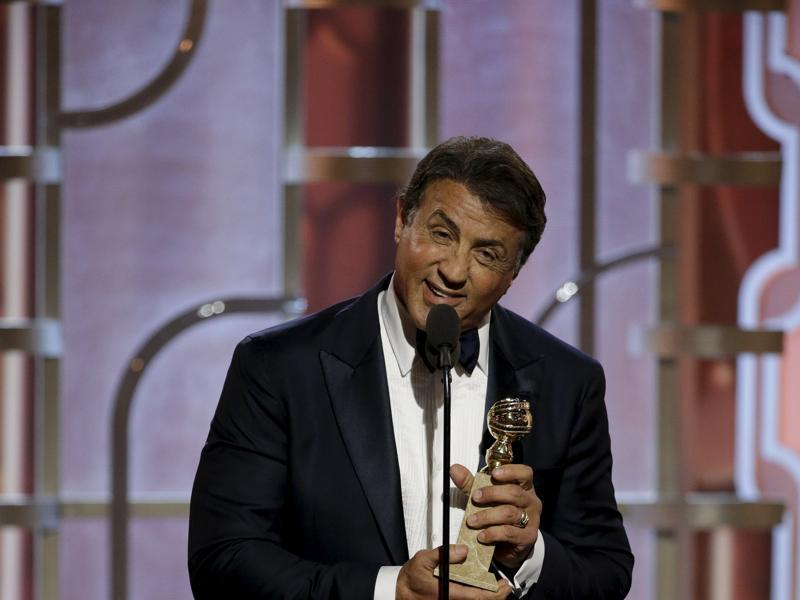 Sylvester Stallone speaks after winning Best Supporting Actor - Motion Picture for his performance in Creed, at the 73rd Golden Globe Awards in Beverly Hills, California January 10, 2016.  (REUTERS)