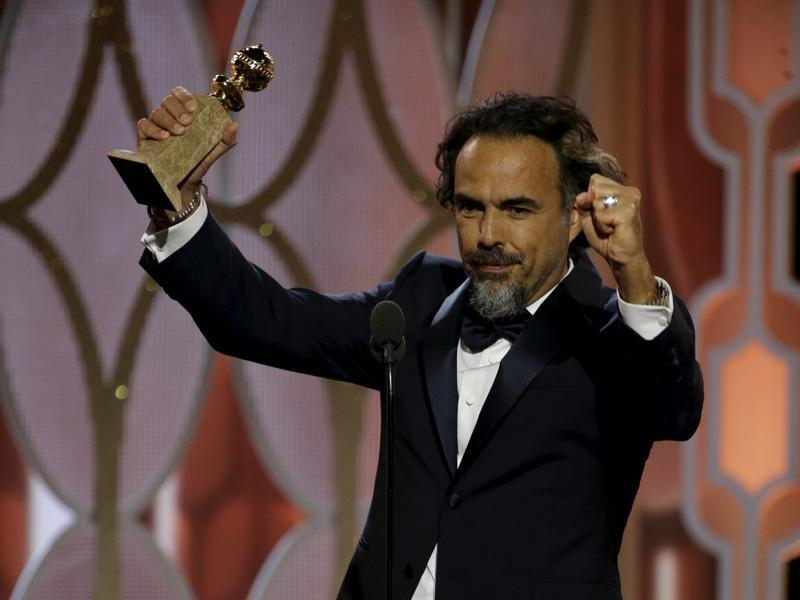 Alejandro G. Inarritu reacts after winning the Best Director - Motion Picture for The Revenant, at the 73rd Golden Globe Awards in Beverly Hills, California January 10, 2016. (REUTERS)