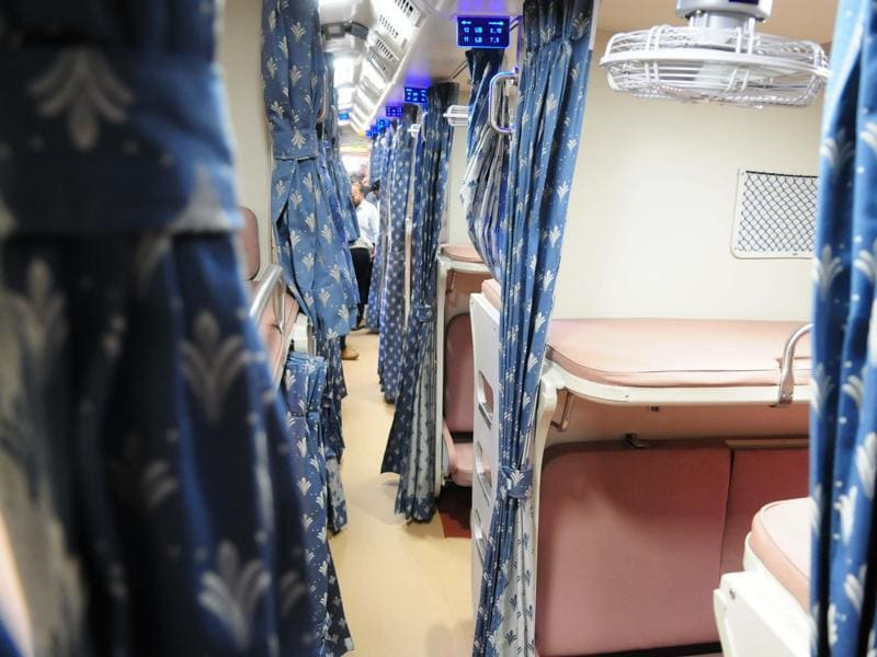 The model coaches have been developed under the ambitious pilot project to revamp the interiors of 111 coaches of all reserved classes to give it a homely touch. (Mujeeb Faruqui/HT Photo)